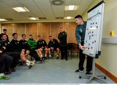 Robbie Keane discussing tactics with the IT Carlow students during his coaching qualification course today.