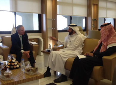 Minister Richard Bruton meeting with the Saudi Minister for Commerce and Industry Tawfiq Al Rabiah as part of the trade mission.