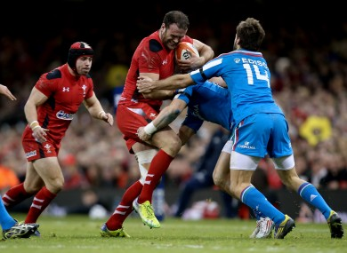 Jamie Roberts goes on the charge against Italy.