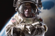 Jean Claude Van Damme performs his epic splits in zero gravity space