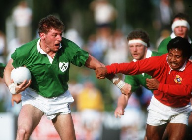 Francis in action for Ireland in 1987.