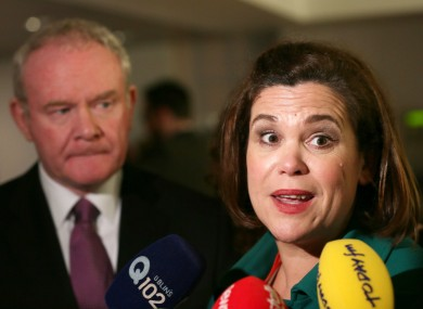 Martin McGuinness and Mary Lou McDonald speaking to the media earlier