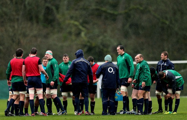 The Ireland forwards huddle