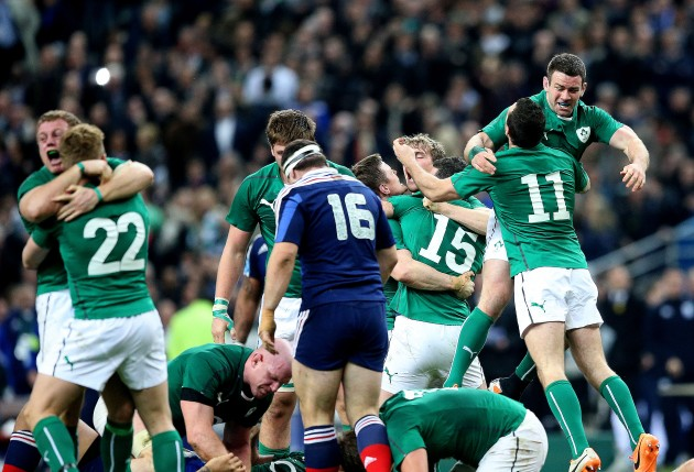 Sean Cronin, Ian Madigan, Fergus McFadden and Dave Kearney celebrate at the final whistle