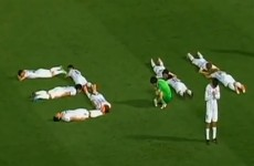 Japanese team's goal celebration remembers tsunami anniversary