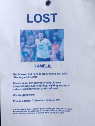 Missing: Have you seen Erik Lamela lately?