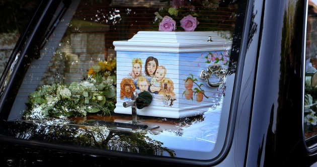 Family portrait decorates Peaches Geldof's coffin as mourners arrive for funeral