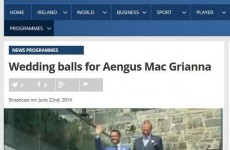 Unfortunate Aengus Mac Grianna typo on the RTÉ website